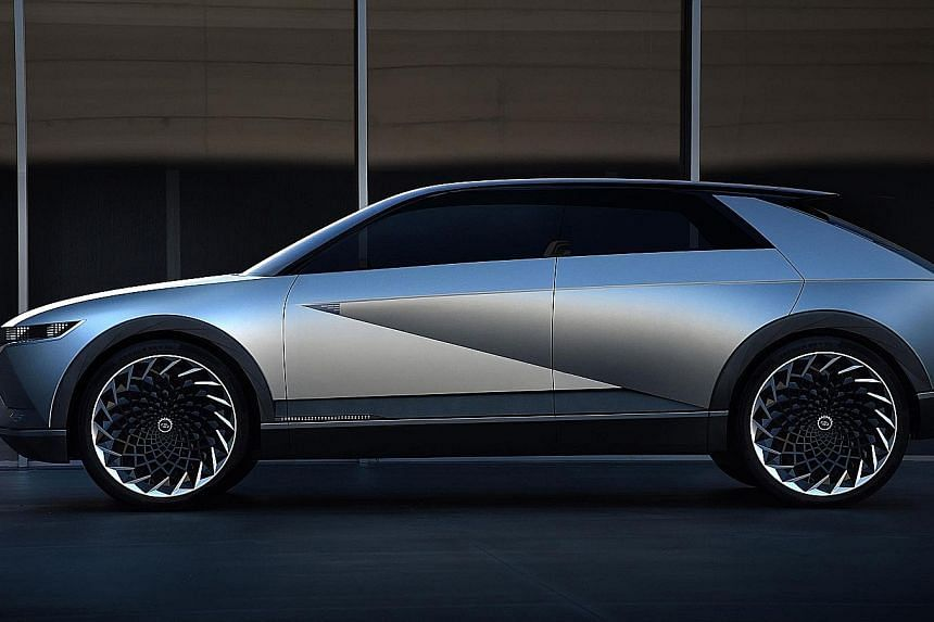 Hyundai says its 45 EV concept (above) was inspired by its 45-yearold Pony Coupe concept.