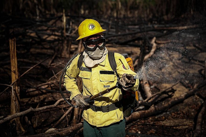 A fireman in an operation to bring a blaze under control in the Tenharim indigenous reserve of Brazil this week. While forests in South-east Asia are cleared mainly to produce palm oil and pulp and paper, land in the Americas - such as in Amazonas st