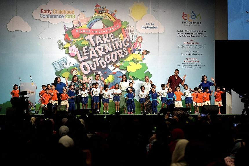 Children and teachers from three pre-schools - My First Skool at Jurong West, Iyad Perdaus and Sarada Kindergarten - performing a skit on the first day of the Early Childhood Conference at the Suntec Singapore Convention and Exhibition Centre yesterd
