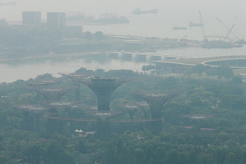 A photo taken at around 11.15am yesterday showing Gardens by the Bay obscured by haze. ST PHOTO: JASON QUAH