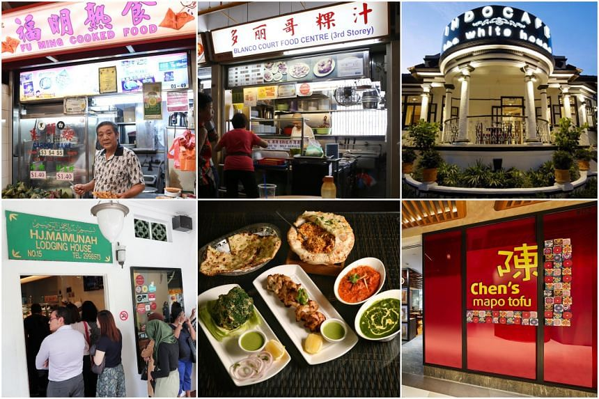 Eateries that made the Bib Gourmand list this year (clockwise from top left): Fu Ming Cooked Food, To- Ricos Guo Shi, The White House, Chen's Mapo Tofu, Anglo Indian Cafe & Bar and Hjh Maimunah.