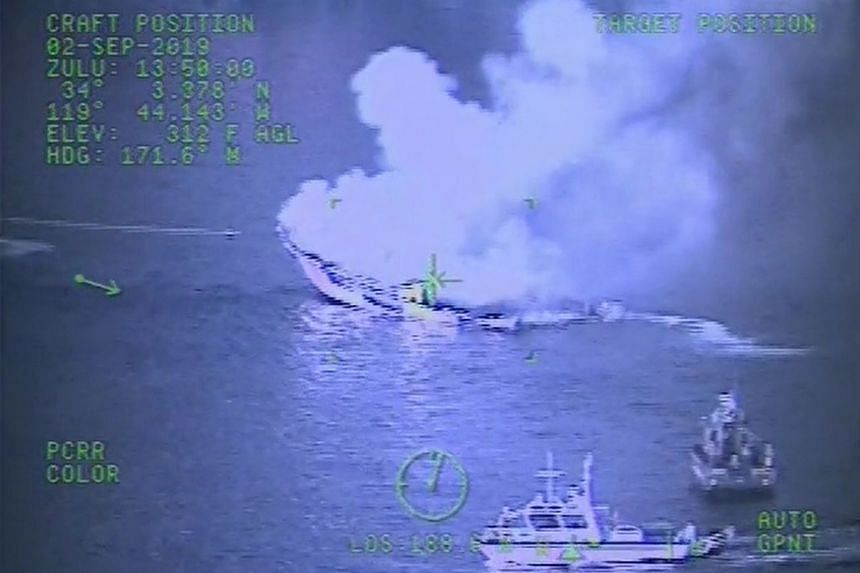 A Coast Guard helicopter video screen is seen as the crew responds to the Conception fire.