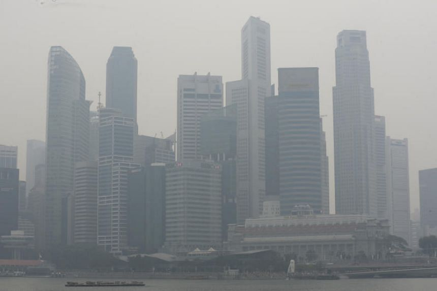A photo taken in Marina Bay shows haze over the area at around 2.20pm on Sept 14, 2019.