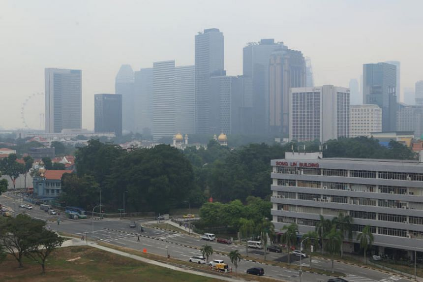 A photo taken in Lavender shows haze over the area at around 2.50pm on Sept 14, 2019.