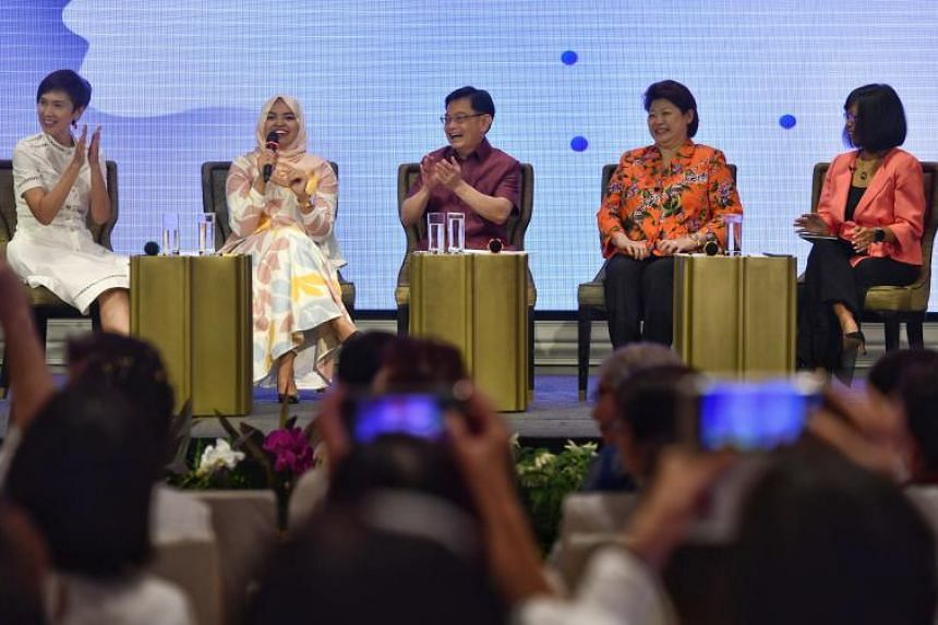 Manpower Minister Josephine Teo, panellist Nabillah Jalal, Deputy Prime Minister Heng Swee Keat, panellist Susan Chong and moderator Wong Su-Yen during a panel discussion during the PAP Women's Wing conference on Sept 14, 2019.