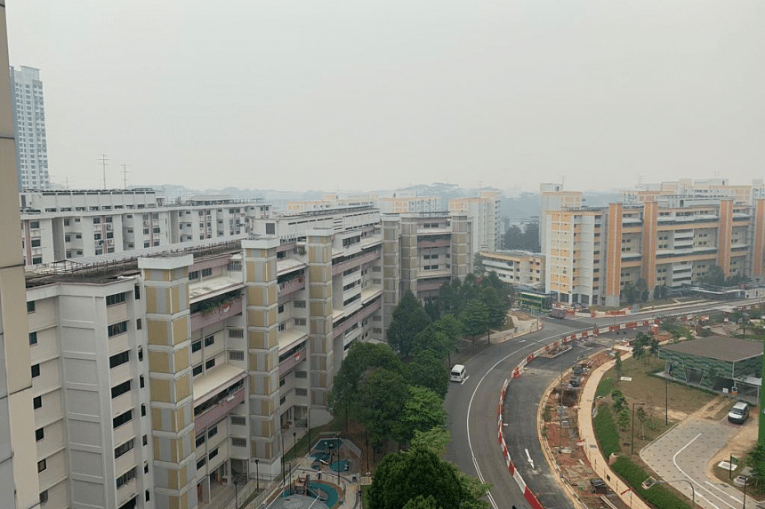 A photo taken in Woodlands shows haze over the neighbourhood at around 3pm on Sept 14, 2019.