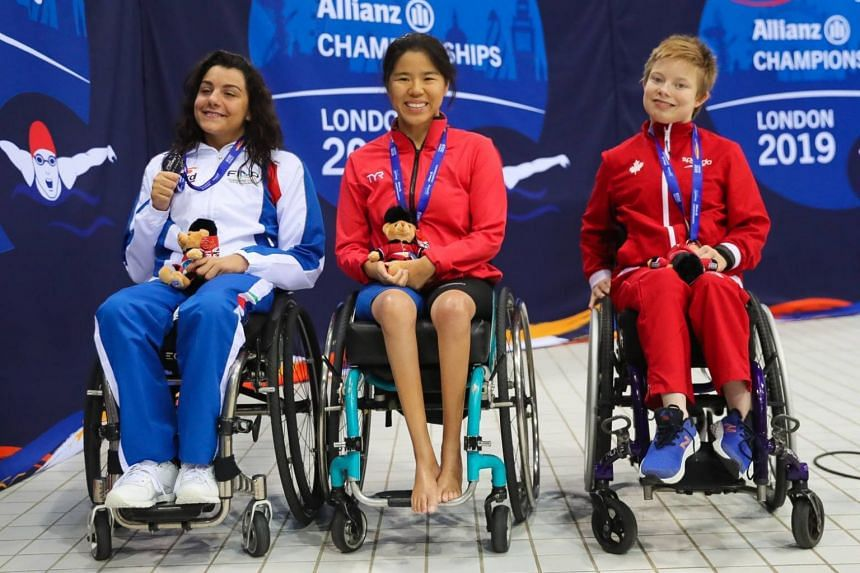 Singapore swimmer Yip Pin Xiu came in first in the women's 50m backstroke S2 event while Angela Procida of Italy (left) and Aly van Wyck-Smart of Canada came in second and third respectively.