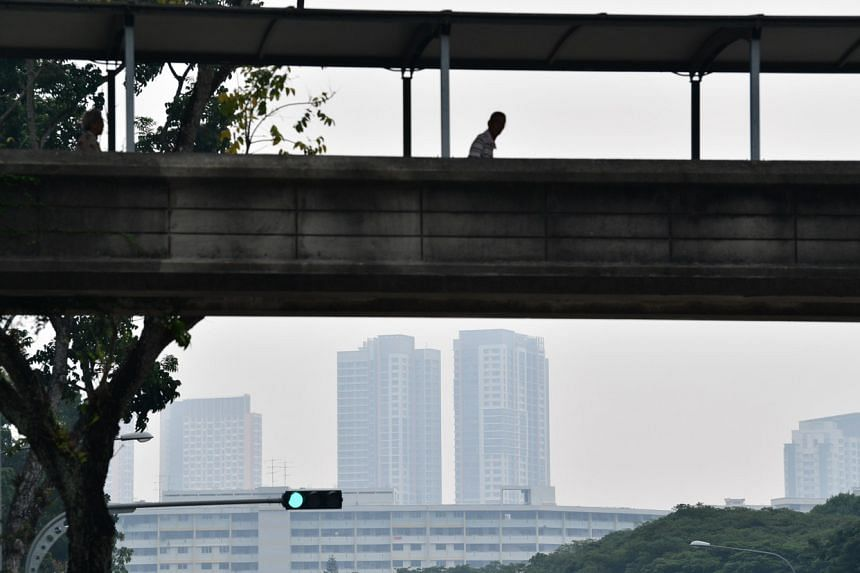 A photo taken in Clementi shows haze over the neighbourhood at around 3pm on Sept 14, 2019.