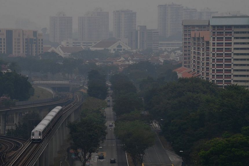 A photo taken in Ang Mo Kio showing haze over the neighbourhood at around 11.30am on Sept 14, 2019.