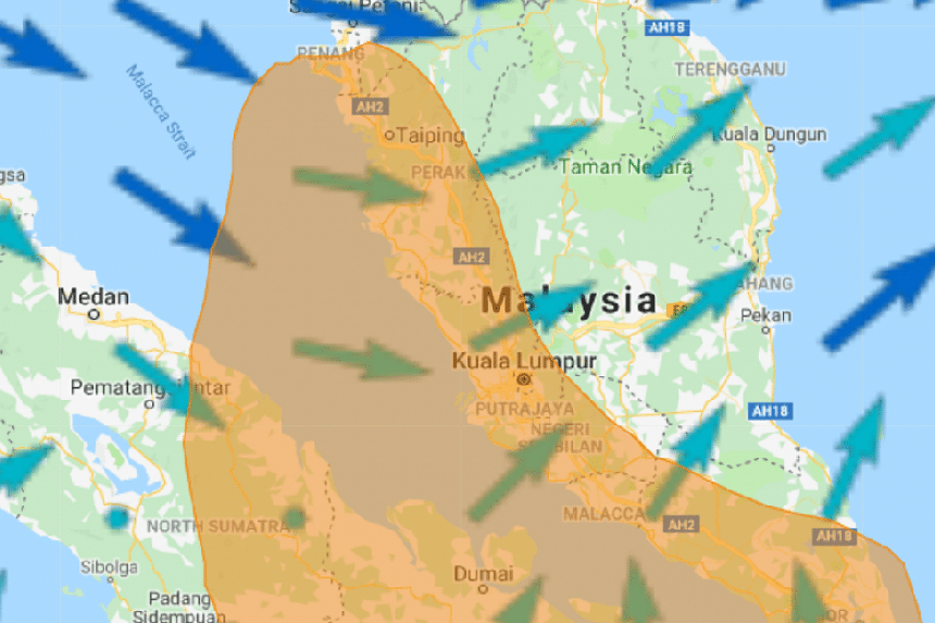 The Asean Specialised Meteorological Centre in Singapore reported that a wind from the north-west, blowing at between 20kmh and 40kmh, will stay for the next few days.