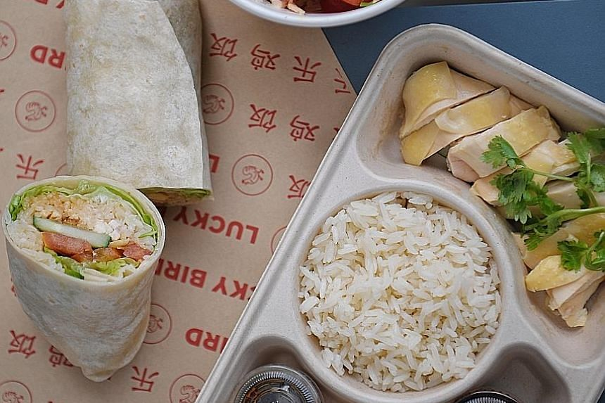 Clockwise from left: Wrap N Roll, Okie Pokie Bowl and Lucky Bird chicken rice.