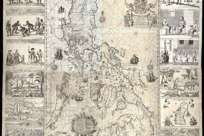 A copy of the map, first published in 1734 by the Jesuit cartographer Pedro Murillo Velarde. It was among 270 maps presented to a five-man arbitration tribunal to back the Philippines' rights to parts of the South China Sea that China was also clai
