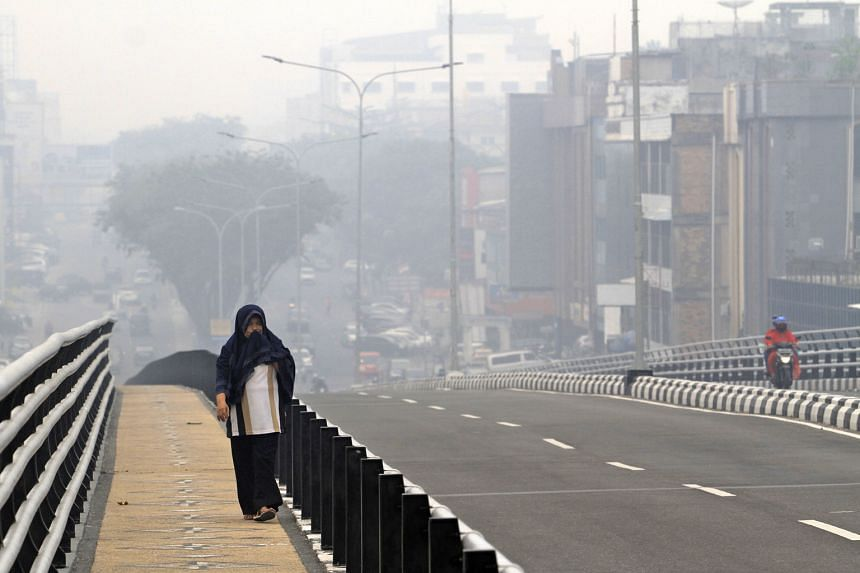 A woman covering her face as haze from forest fires blanketed Pekanbaru, Riau province, Indonesia, last Friday.