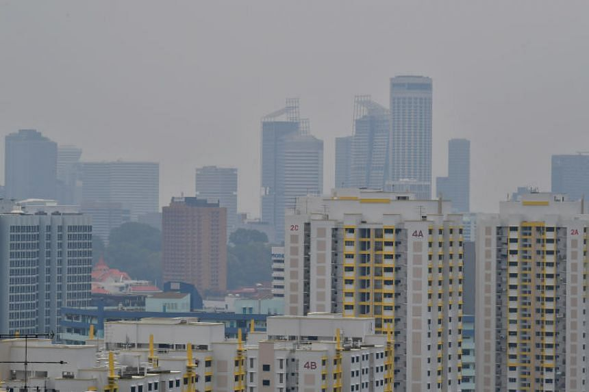 Haze is seen over Tiong Bahru at 2pm on Sept 15, 2019.