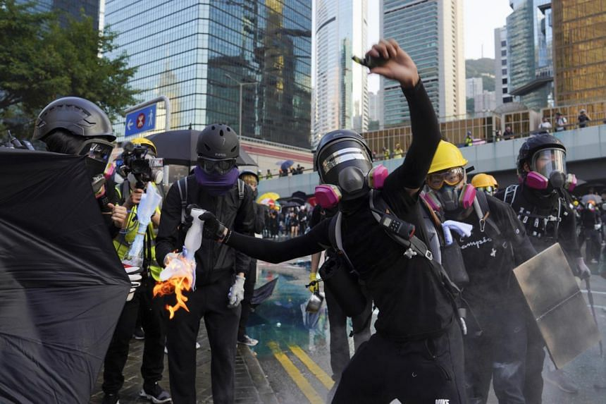"""Police issued a statement early on Monday expressing """"severe condemnation"""" after what began as a mostly peaceful protest had spiralled into violence in some of the Chinese territory's key business, shopping and tourist districts."""