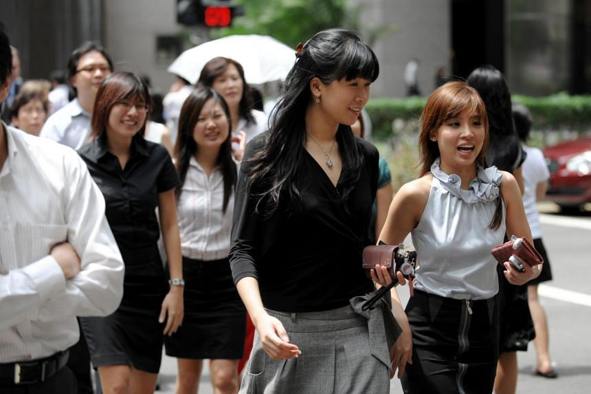 Female workers at Singapore's central business district.