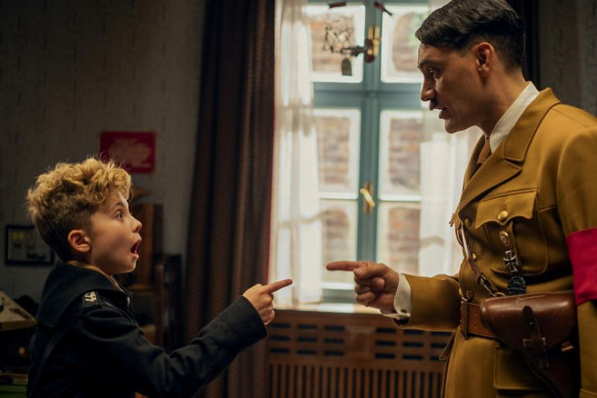 Roman Griffin Davis (left), and Taika Waititi in Nazi comedy Jojo Rabbit, which won the top prize at the Toronto International Film Festival on Sept 15, 2019.