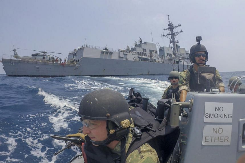 This US Navy file photo obtained on Sept 15 shows US Navy sailors riding a rigid-hull inflatable boat from the Arleigh Burke-class guided-missile destroyer USS Wayne E. Meyer during a drill as part of the Asean-US Maritime Exercise on Sept 5, 2019 in