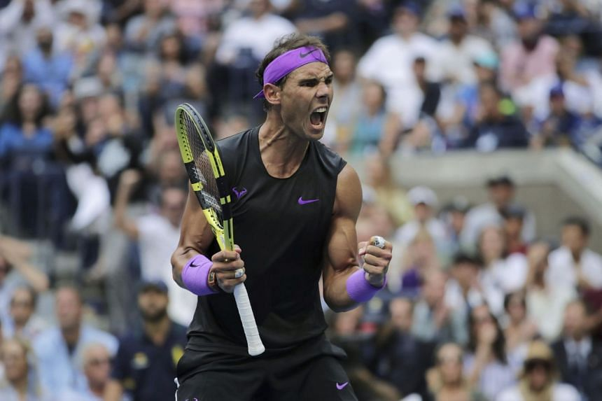 Rafael Nadal reacts after scoring a point during the men's singles final of the U.S. Open tennis championships on Sept 8, 2019.