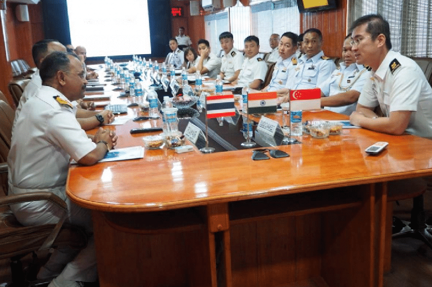 Exercise planning in progress between the Singapore, Indian and Thai navies during the shore phase of the joint maritime exercise in Port Blair, India.