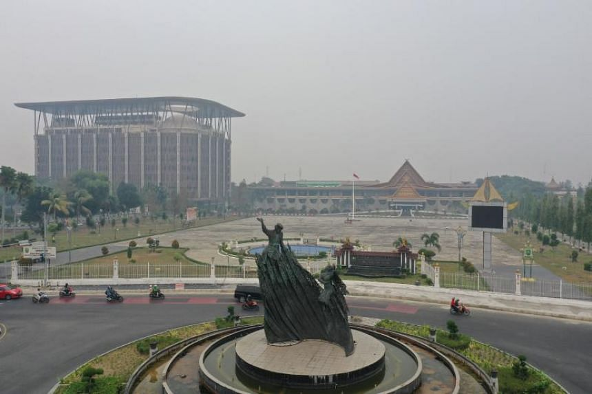 A view of Pekanbaru in South Sumatra on Sept 15, 2019 as haze settles over the area.