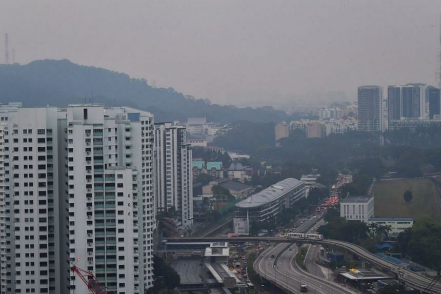 The Bukit Timah area shrouded in a light haze on the morning of Sept 17, 2019, at around 7am.
