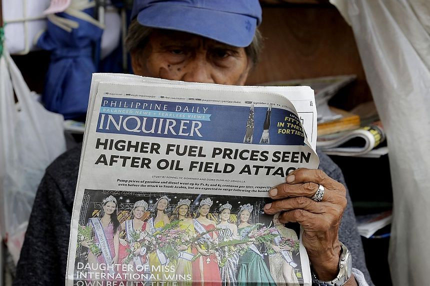 News in Manila of higher oil prices after the weekend attacks on two Saudi oil plants. In the region, India and Indonesia stand out as the most vulnerable to a spike in oil prices as they import most of what they need.