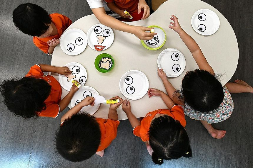 Pre-schoolers making face masks at My First Skool in Boon Lay Drive. Anchor and partner operators of childcare centres get government funding to keep fees low, and have a fee cap to adhere to. The fee cap is $720 for anchor operators and $800 for par