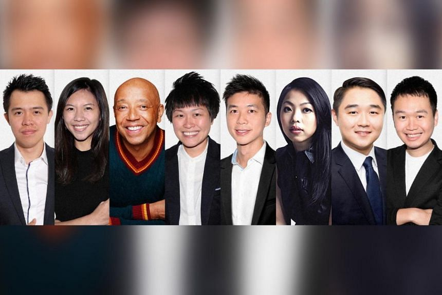 (From left) Gushcloud International Director for Sales and Marketing (SEA), Oddie Randa; Group Business and Legal Affairs Director, Chloe Lim; President of the Group, Russell Simmons; Group CEO, Althea Lim; Chairman of the Board, Vincent Ha; Chief St
