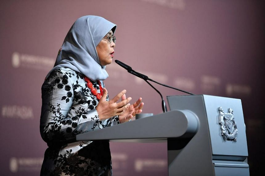 President Halimah Yacob, speaking at the Women's Forum Asia 2019 at Raffles City Convention Centre on Sept 18, 2019, said there is a strong business case for increasing women's participation in both workplaces and on boards.