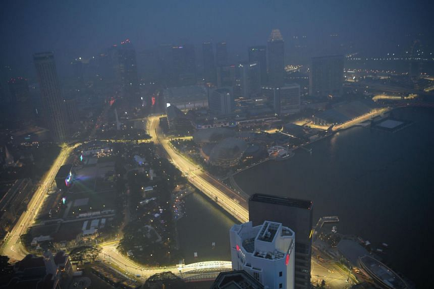 The view of the Formula One Singapore Airlines Singapore Grand Prix race track from the 1-Altitude Rooftop Bar on Sept 18, 2019, at around 7pm.