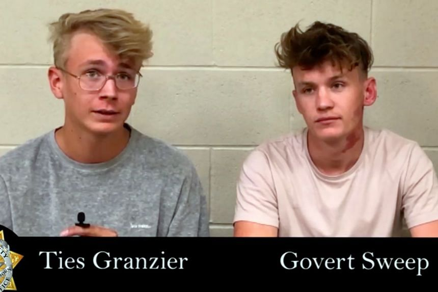 Dutch tourists Ties Granzier (left) and Govert Sweep in Nye County Jail.