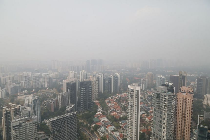 A view of the buildings in the Orchard Road area surrounded by the haze, on Sept 18, 2019, at 10am.
