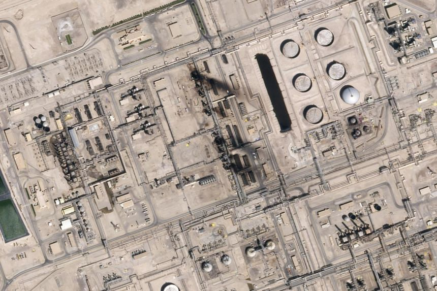 A satellite image showing damage to the oil/gas infrastructure from weekend drone attacks at Abqaiq, on Sept 15, 2019, in Saudi Arabia.
