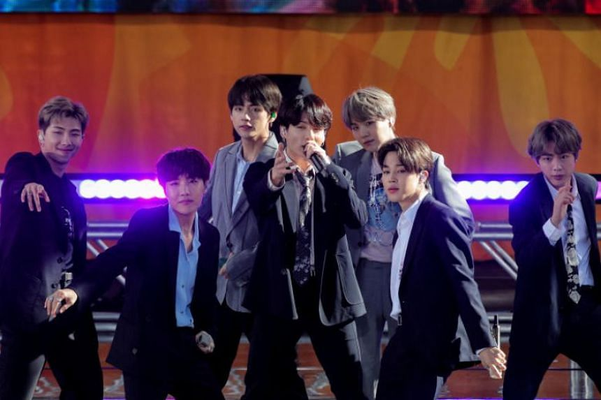 A photo taken on May 15 shows BTS performing on ABC's Good Morning America show in Central Park in New York City.