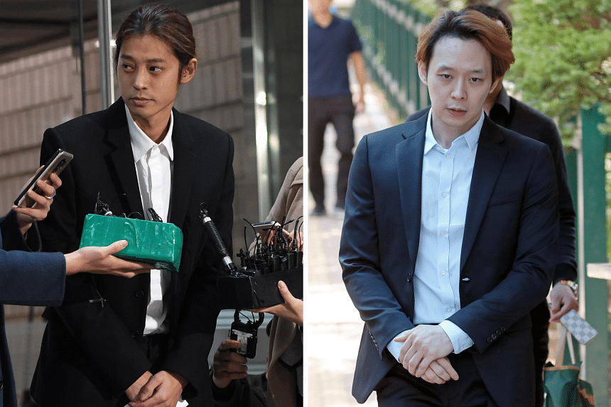 BigBang member Seungri, singer Jung Joon-young (left) and actor Park Yoo-chun (right) have been implicated in scandals and crimes, ending their careers as pop idols.