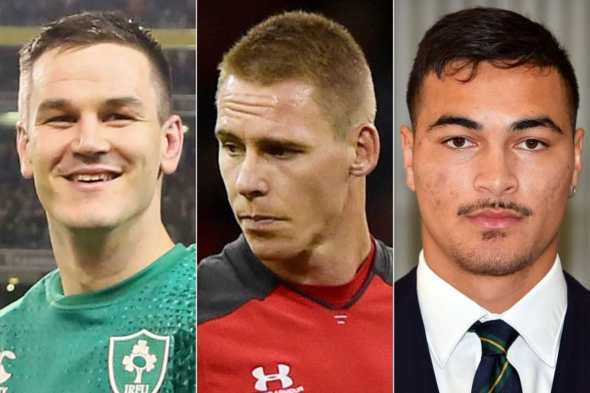 England's Manu Tuilagi, All Blacks winger Sevu Reece, Springboks' Pieter-Steph du Toit, Johnny Sexton of Ireland (left), Welsh full-back Liam Williams (center) and the Wallabies' teenaged winger Jordan Petaia (right) are among the stars to watch at t