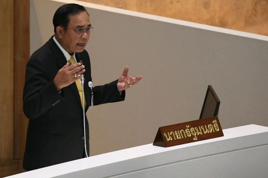 Thai Prime Minister Prayut Chan-o-cha speaks during the general debate session inside meeting chambers of Parliament in Bangkok on Sept 18, 2019.