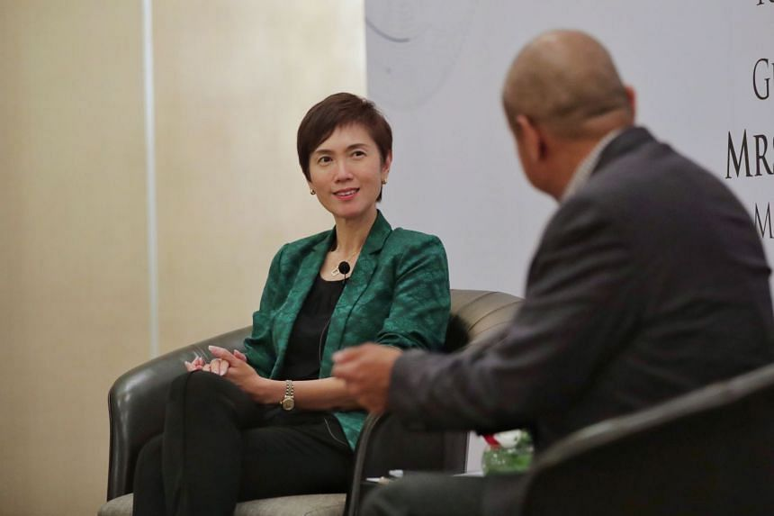 Mrs Teo in a dialogue with moderator Kenneth Paul Tan, Associate Professor at the Lee Kuan Yew School of Public Policy, during the event.