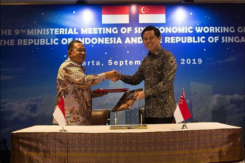 Minister for Trade and Industry Chan Chun Sing with Indonesian Coordinating Minister for Economic Affairs Darmin Nasution in Jakarta on Monday. They discussed progress in economic cooperation between both countries.