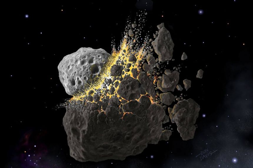 An illustration showing an asteroid collision between Mars and Jupiter that occurred 470 million years ago and produced the dust that led to an ice age on Earth.