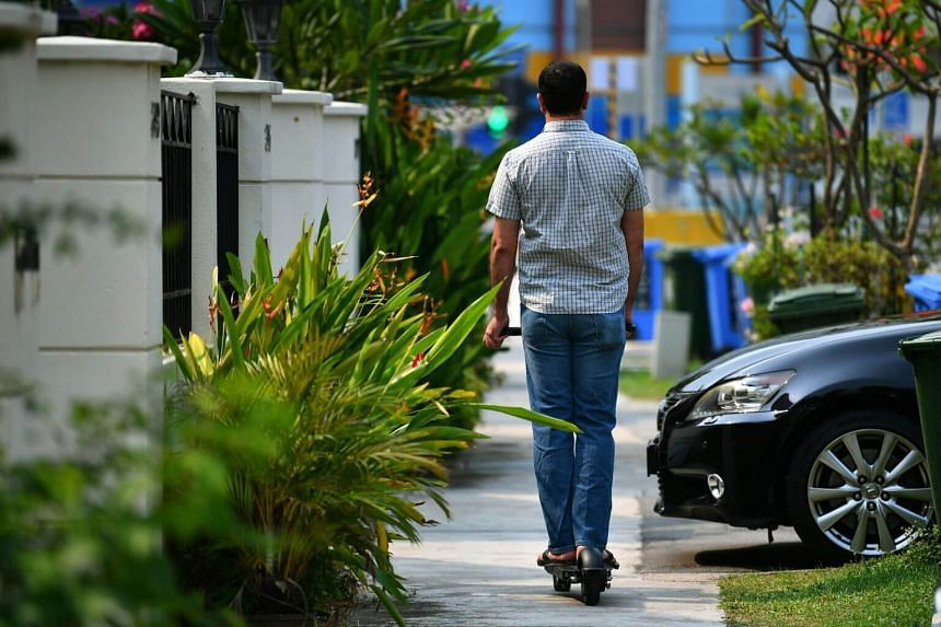 An electric scooter user riding on a footpath at Telok Kurau Road, on Sept 5, 2019.