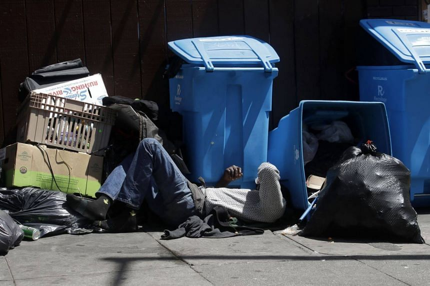 """US President Donald Trump said homelessness was an environmental issue because """"tremendous pollution"""", including syringes used by homeless addicts to inject drugs, was flowing into the Pacific Ocean from Bay Area cities."""