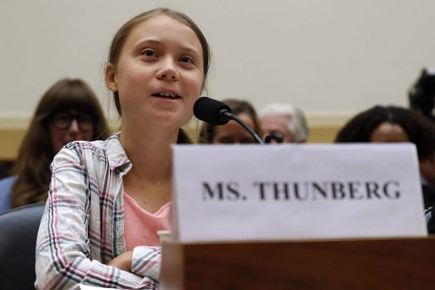 Youth climate change activist Greta Thunberg speaks at the climate change hearing.