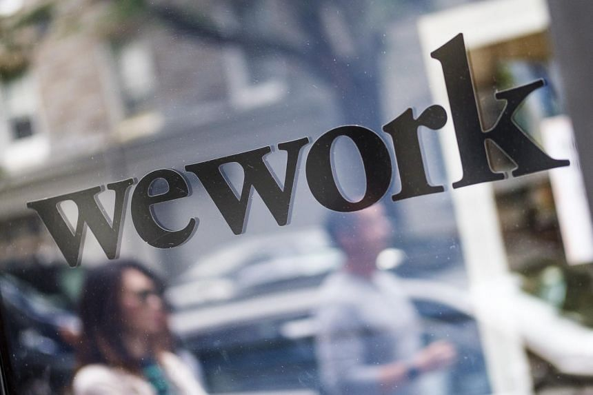 The WeWork logo seen at a co-working space in New York, on Sept 13, 2019.