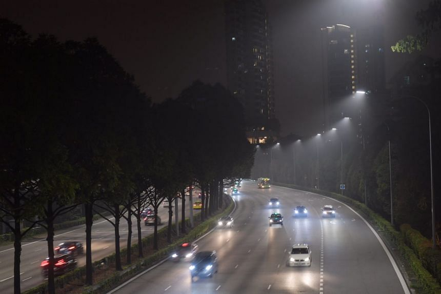 The haze over the Central Expressway at 10:38pm on Sept 18 2019.
