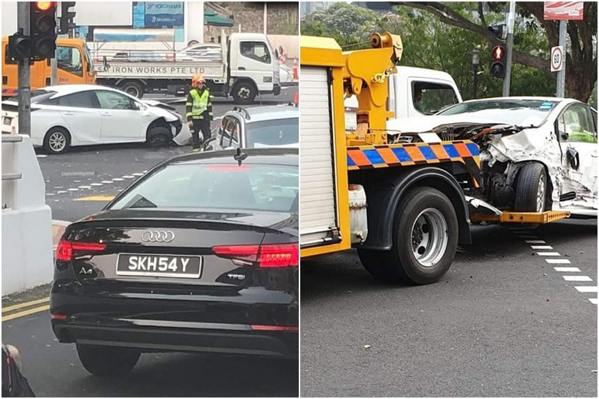 Pictures of the aftermath of the accident showed a white sedan car being towed away from the site.