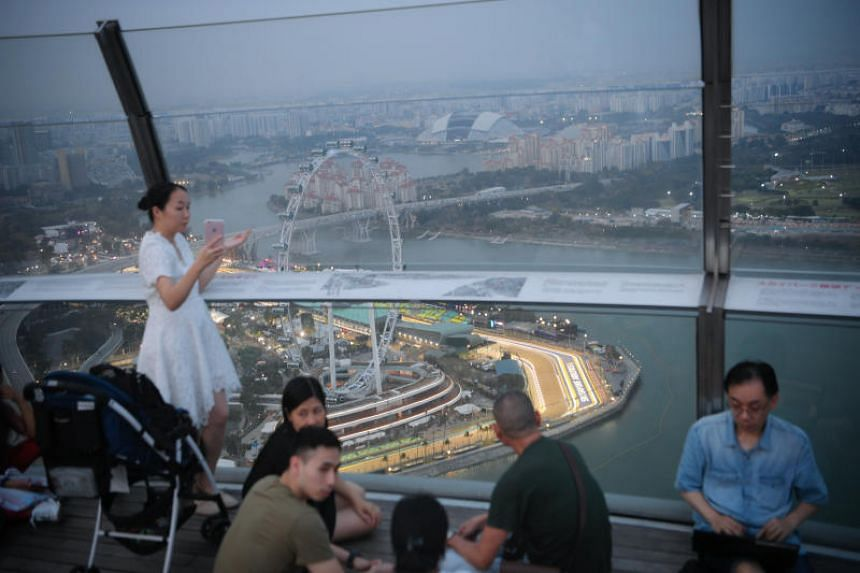 A photo taken from Marina Bay Sands' SkyPark at around 7pm on Sept 19 shows haze over the Singapore skyline.