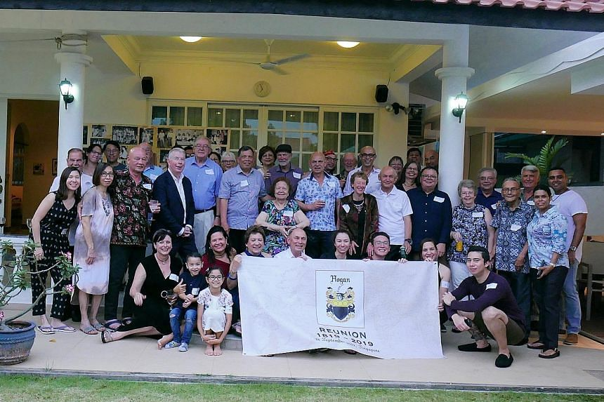 A reunion of Mr John Hogan's descendants at a gathering in Jalan Binchang in Bishan last Saturday. Mr Hogan, who worked for the East India Company, arrived in Singapore in 1819 with Sir Stamford Raffles. He later moved to Penang but some of his offsp
