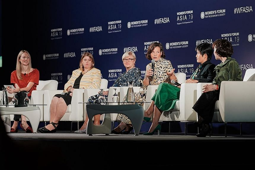(From left) Ms Karen Gilchrist, CNBC reporter and moderator; Ms Sarah Cottle, global head of market insight for S&P Global Platts; Ms Louise Harvey, non-executive chairman of strategic communications at FTI Consulting; Ms Anne-Gabrielle Heilbronner,